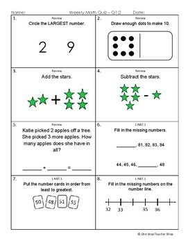 1st Grade Math Assessments | 2 Weeks FREE