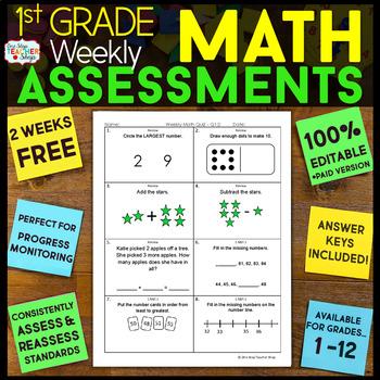 1st Grade Math Assessments | 2 Weeks FREE