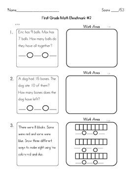 First Grade Math Benchmark #2 Common Core Aligned