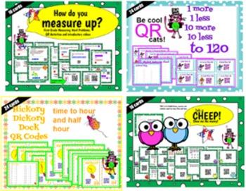 First Grade QR Math Bundle - 80 task cards Teks 1.4, 1.5c,