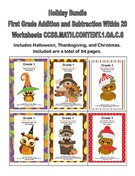 First Grade Math Bundle Features Adding and Subtracting Within 20-CCSS