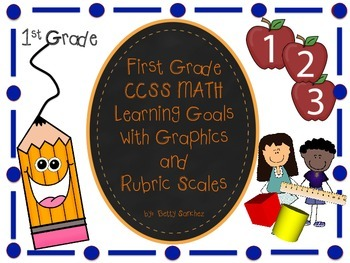 CCSS Math Goals with Graphics & Rubrics for First Grade