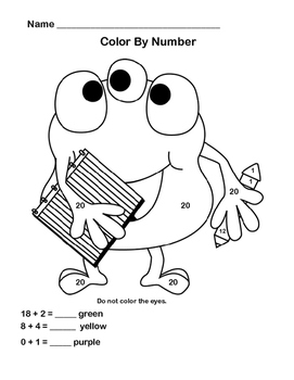 First Grade Math-CCSS1.OA.C.6- Add and Color -No Prep Monster Theme