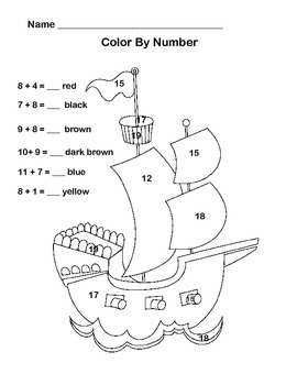 First Grade Math-CCSS1.OA.C.6- Add and Color -Pirates Theme