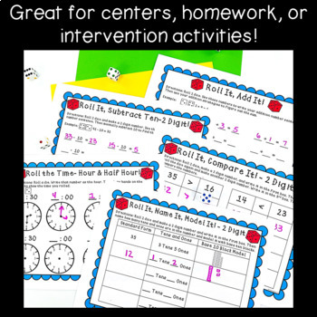 Dice Math Center Games! ~NO PREP!~ Add, Subtract, Place Value, & Time