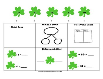 First Grade Math Center: Place Value Practice: Add and Sub