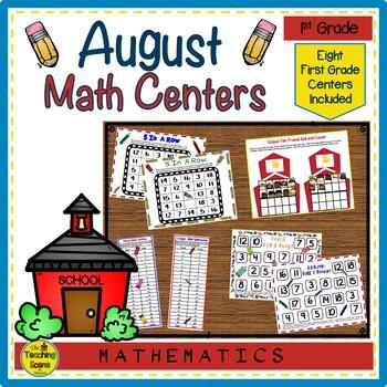 First Grade Math Centers--August