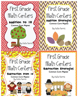 First Grade Math Centers-Fall Bundle