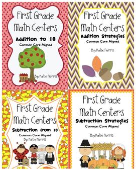 First Grade Math Centers-Fall Bundle