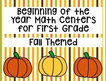 First Grade Math Centers- Fall Themed