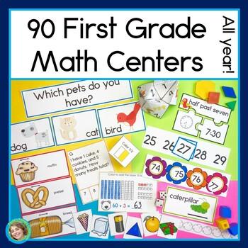 First Grade Math Centers Growing Year Long Bundle