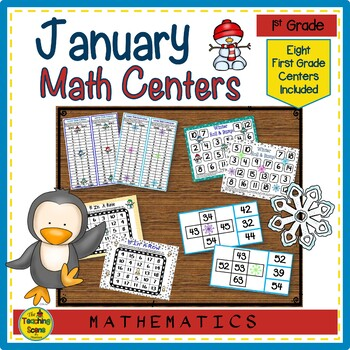 First Grade January Math Centers: Math Facts, Ten Frames, Number Order & More