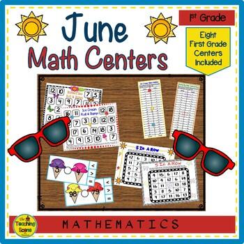 First Grade Math Centers--June
