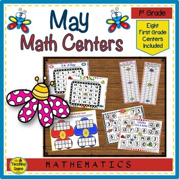 First Grade May Math Centers: Math Facts, Ten Frames, Number Order & More