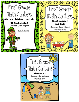 First Grade Math Centers-Spring Bundle