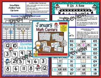 First Grade Monthly Math Centers Year Long Bundle