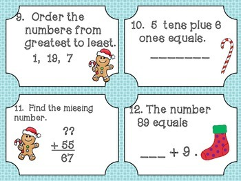 First Grade Math Christmas Activity Packet
