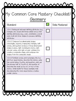 First Grade Math Common Core Checklist!