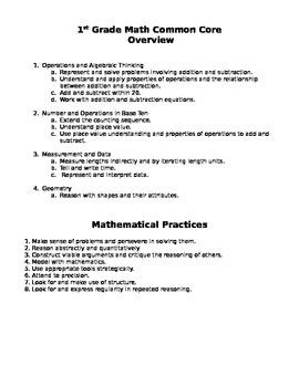 First Grade Math Common Core Checklist