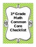 First Grade Math Common Core Checklist
