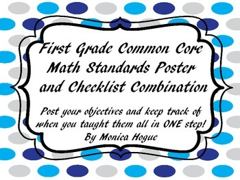 First Grade Math Common Core Checklist Posters