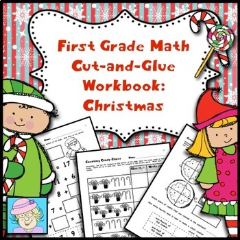 Winter Holidays: Christmas Cut-and-Glue Math for First Grade
