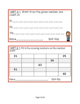 First Grade Math Common Core Exit Slips