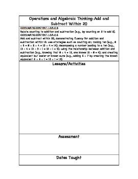 First Grade Math Common Core Planning Sheet