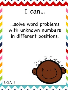 """First Grade Math Common Core Standards and """"I Can"""" Posters"""