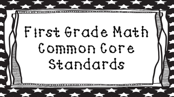 1st Grade Math Standards Posters on Black Star Frame