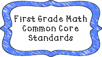 1st Grade Math Standards Posters on Blue Crayon Colored Frame