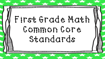 First Grade Math Common Core Standards on Green Star Frame