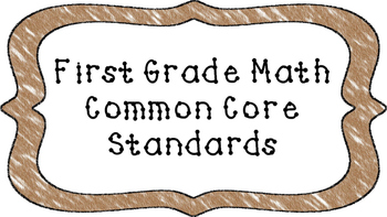 1st Grade Math Standards Posters on Brown Crayon Colored Frame