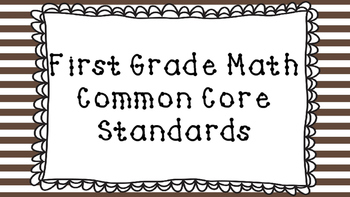1st Grade Math Standards Posters on Brown Striped Frame
