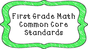 1st Grade Math Standards Posters on Green Crayon Colored Frame
