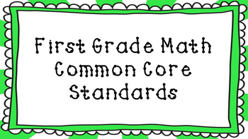 1st Grade Math Standards Posters on Green Sunburst Frame