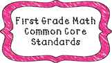 1st Grade Math Standards Posters on Pink Crayon Colored Frame