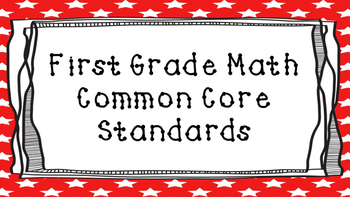 1st Grade Math Standards Posters on Red Star Frame