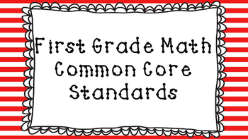 1st Grade Math Standards Posters on Red Striped Frame