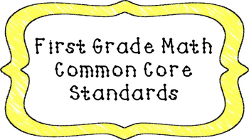 1st Grade Math Standards Posters on Yellow Crayon Colored Frame