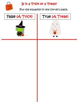 First Grade Math Common Core True & False Equations (Halloween-themed)