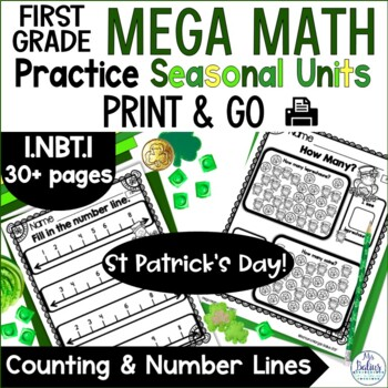 First Grade Math Counting and Number Lines Mega Practice 1.NBT.1 St Pat's