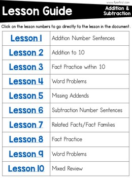 First Grade Math Curriculum - Addition and Subtraction within 10: Unit 3