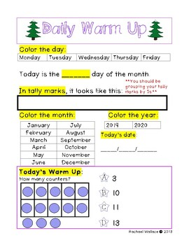 First Grade Math Daily Warm Up for December