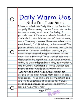 First Grade Math Daily Warm Ups for October
