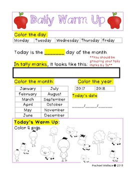 First Grade Math Daily Warm Ups for September