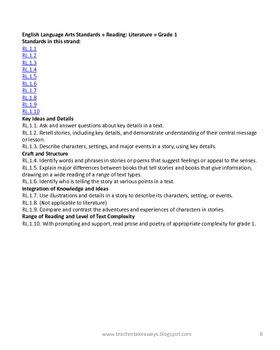 First Grade Math & ELA Common Core State Standards Freebie
