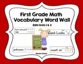 First Grade Math EM4 Vocabulary Word Wall (Units 1 & 2)