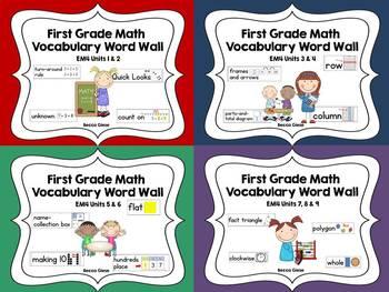First Grade Math EM4 Vocabulary Word Wall (Units 1-9)