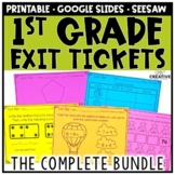 First Grade Math Exit Slips Bundle